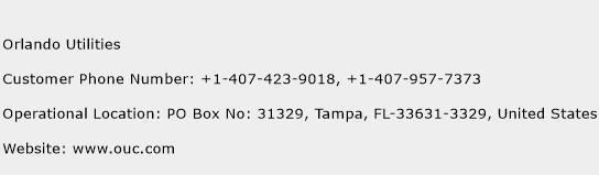 Orlando Utilities Phone Number Customer Service