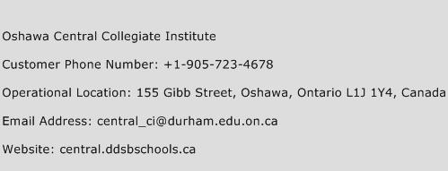 Oshawa Central Collegiate Institute Phone Number Customer Service