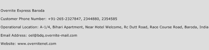 Overnite Express Baroda Phone Number Customer Service