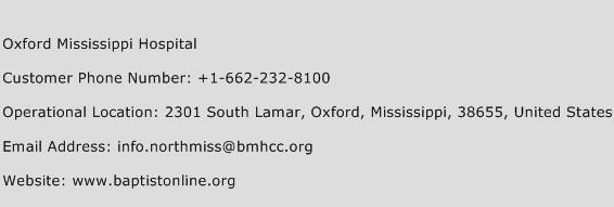 Oxford Mississippi Hospital Phone Number Customer Service