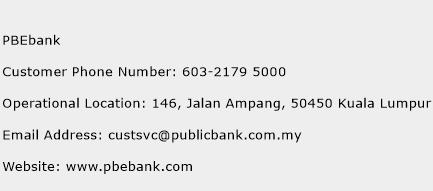 PBEbank Phone Number Customer Service