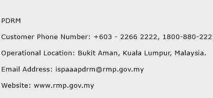 PDRM Phone Number Customer Service