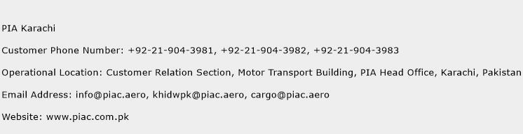 PIA Karachi Phone Number Customer Service