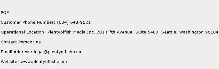 POF Number | POF Customer Service Phone Number | POF