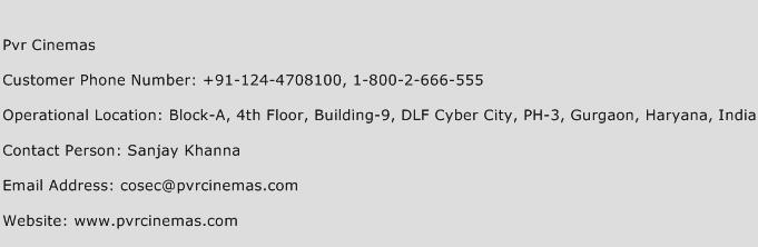 PVR Cinemas Phone Number Customer Service