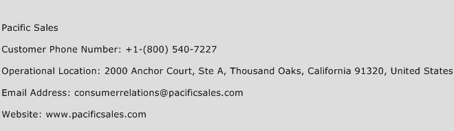 Pacific Sales Phone Number Customer Service