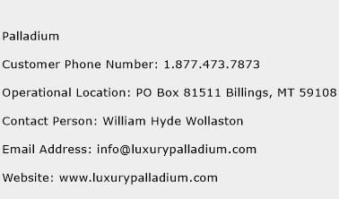 Palladium Phone Number Customer Service