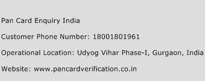 Pan Card Enquiry India Phone Number Customer Service
