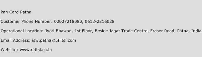 Pan Card Patna Phone Number Customer Service