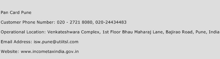 Pan Card Pune Phone Number Customer Service