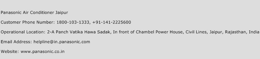 Panasonic Air Conditioner Jaipur Phone Number Customer Service