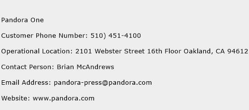 Pandora One Phone Number Customer Service