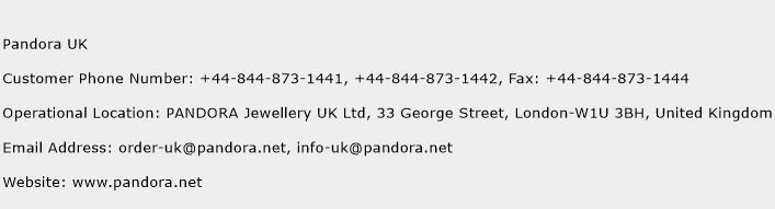 Pandora UK Phone Number Customer Service