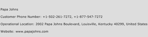 Papa Johns Phone Number Customer Service