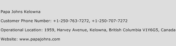 Papa Johns Kelowna Phone Number Customer Service