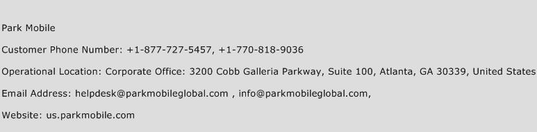 Park Mobile Phone Number Customer Service
