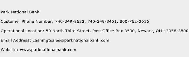 Park National Bank Phone Number Customer Service