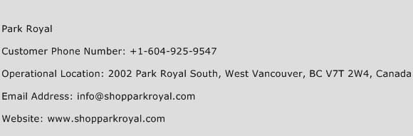 Park Royal Phone Number Customer Service