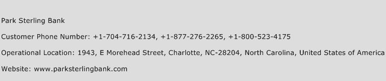 Park Sterling Bank Phone Number Customer Service