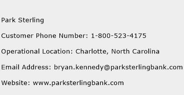 Park Sterling Phone Number Customer Service