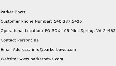 Parker Bows Phone Number Customer Service