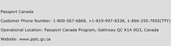 Passport Canada Phone Number Customer Service