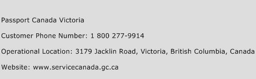 Passport Canada Victoria Phone Number Customer Service