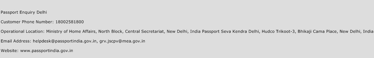 Passport Enquiry Delhi Phone Number Customer Service