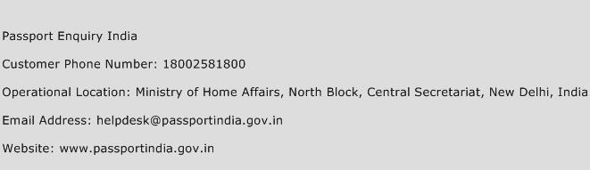 Passport Enquiry India Phone Number Customer Service