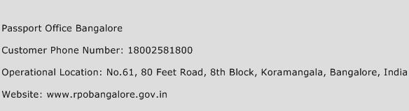 Passport Office Bangalore Phone Number Customer Service