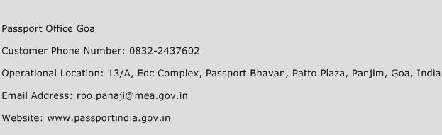 Passport Office Goa Phone Number Customer Service