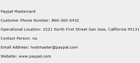 Paypal Mastercard Phone Number Customer Service