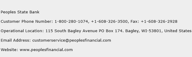 Peoples State Bank Phone Number Customer Service