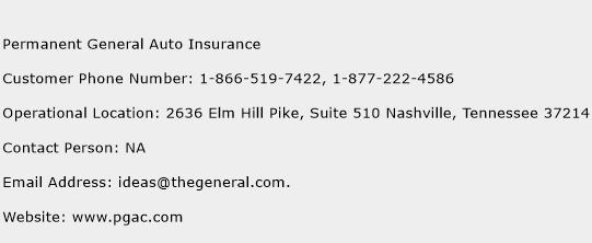 Permanent General Auto Insurance Phone Number Customer Service