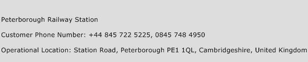 Peterborough Railway Station Phone Number Customer Service