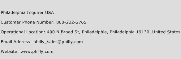 Philadelphia Inquirer USA Phone Number Customer Service