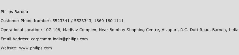 Philips Baroda Phone Number Customer Service