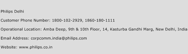 Philips Delhi Phone Number Customer Service