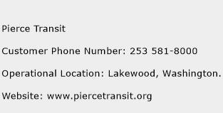 Pierce Transit Phone Number Customer Service