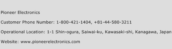Pioneer Electronics Phone Number Customer Service