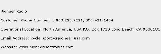 Pioneer Radio Phone Number Customer Service