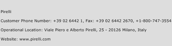 Pirelli Phone Number Customer Service