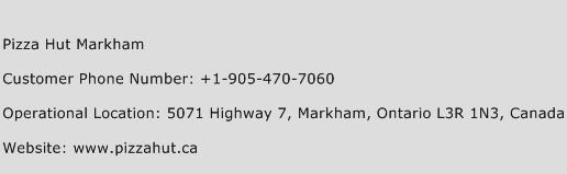 Pizza Hut Markham Phone Number Customer Service