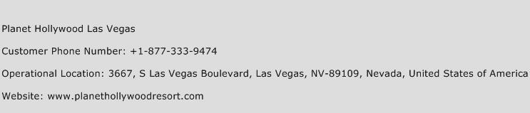 Planet Hollywood Las Vegas Phone Number Customer Service