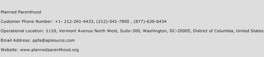 Planned Parenthood Phone Number Customer Service