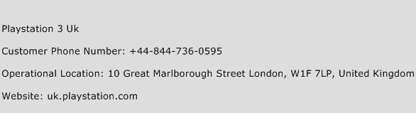 Playstation 3 UK Phone Number Customer Service