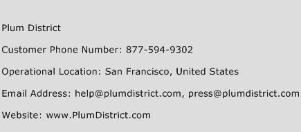 Plum District Phone Number Customer Service