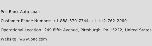 pnc bank auto loan address