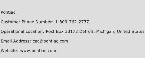 Pontiac Phone Number Customer Service