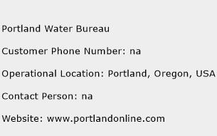 Portland Water Bureau Phone Number Customer Service